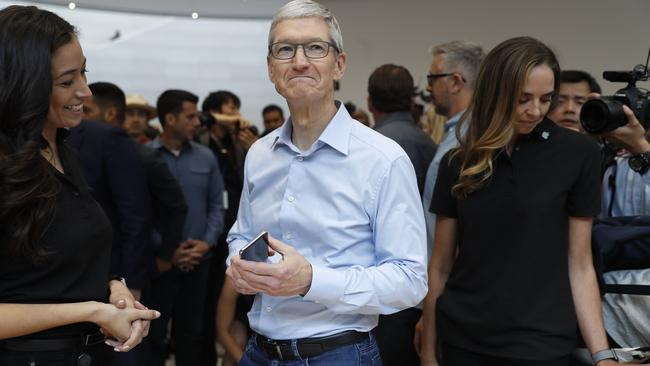 Apple's Tim Cook after product launch event in Cupertino
