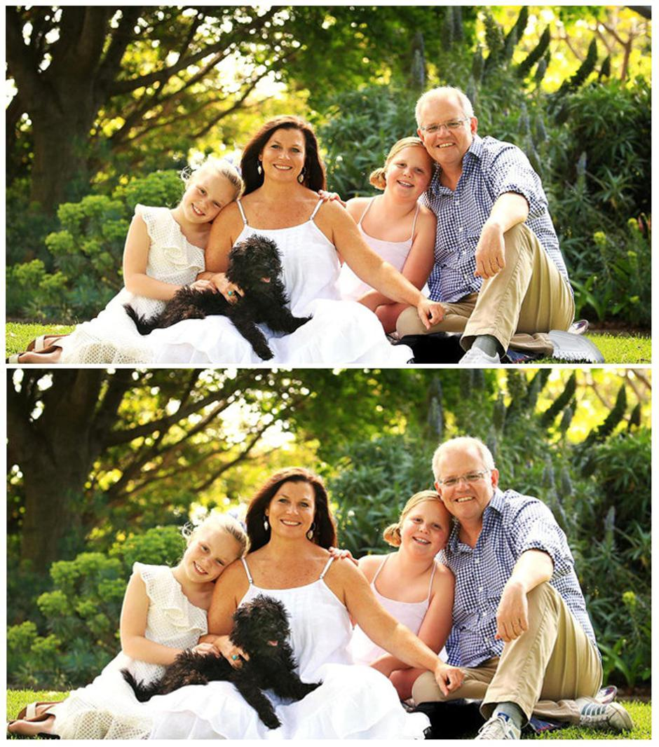Combination photo shows doctored version of a portrait of Australian PM Morrison and his family, and the original portrait | Autor: Handout/REUTERS/PIXSELL/REUTERS/PIXSELL