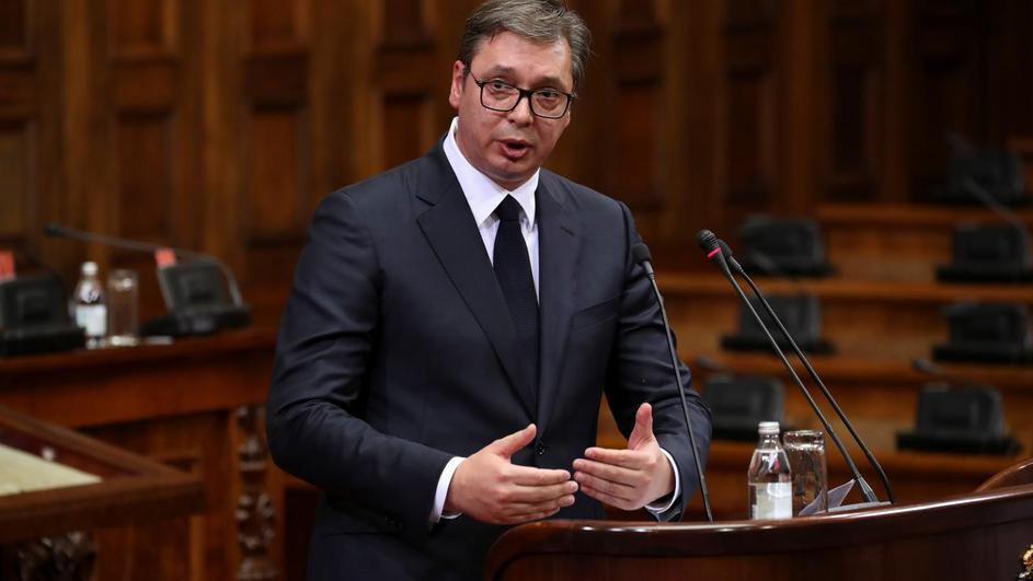 Serbia's President Vucic addresses parliament over Kosovo