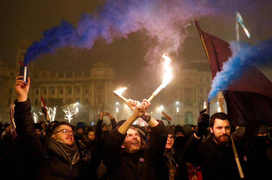 Protest against the new labour law in Budapest | Autor: BERNADETT SZABO