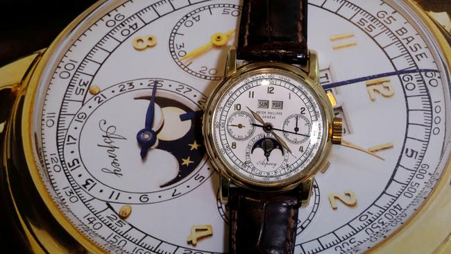 "FILE PHOTO: ""The Asprey"", a Patek Philippe perpetual calendar chronograph watch reference 2499, is pictured in Geneva"