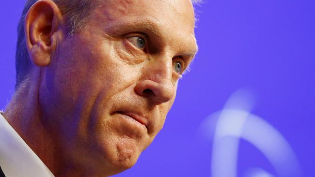 Acting U.S. Defense Secretary Patrick Shanahan reacts during the IISS Shangri-la Dialogue in Singapore