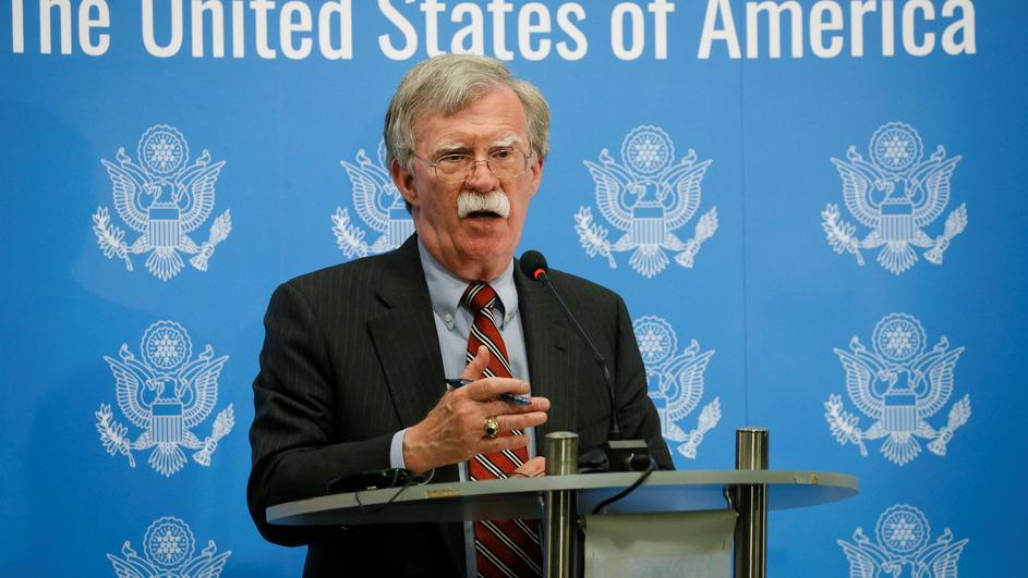 U.S. President Donald Trump's national security adviser John Bolton speaks at a news conference in Kiev