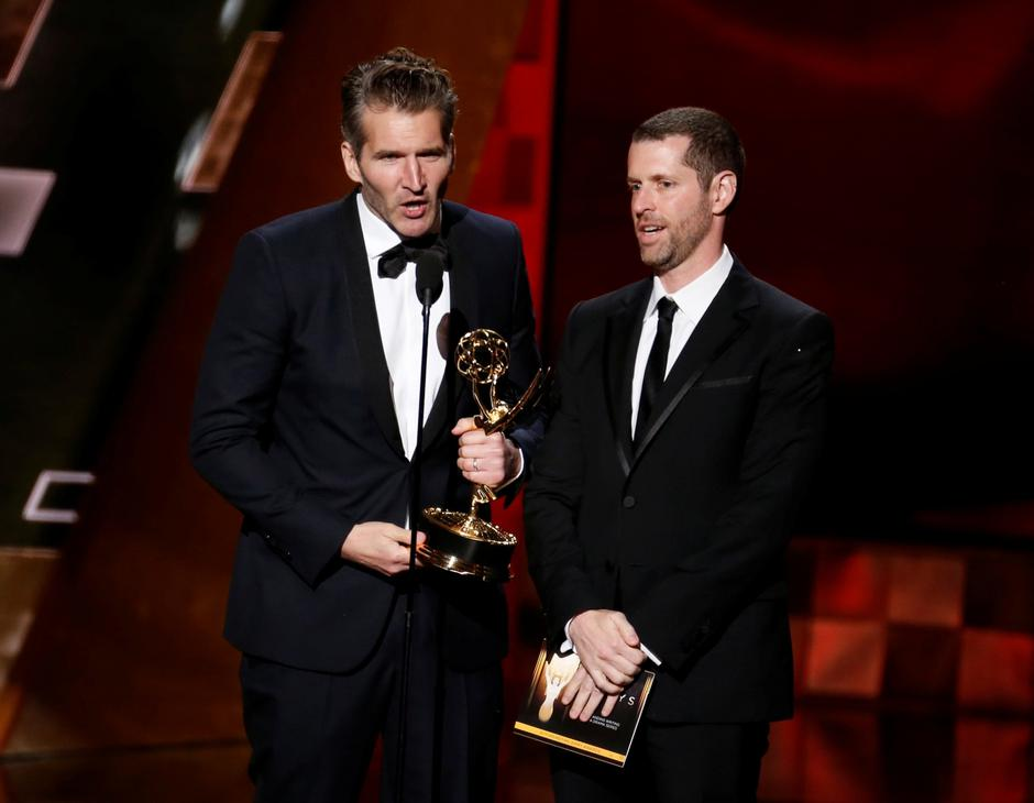 "FILE PHOTO: Benioff and Weiss accept the award for Outstanding Writing For A Drama Series for HBO's ""Game of Thrones"" at the 67th Primetime Emmy Awards in Los Angeles 
