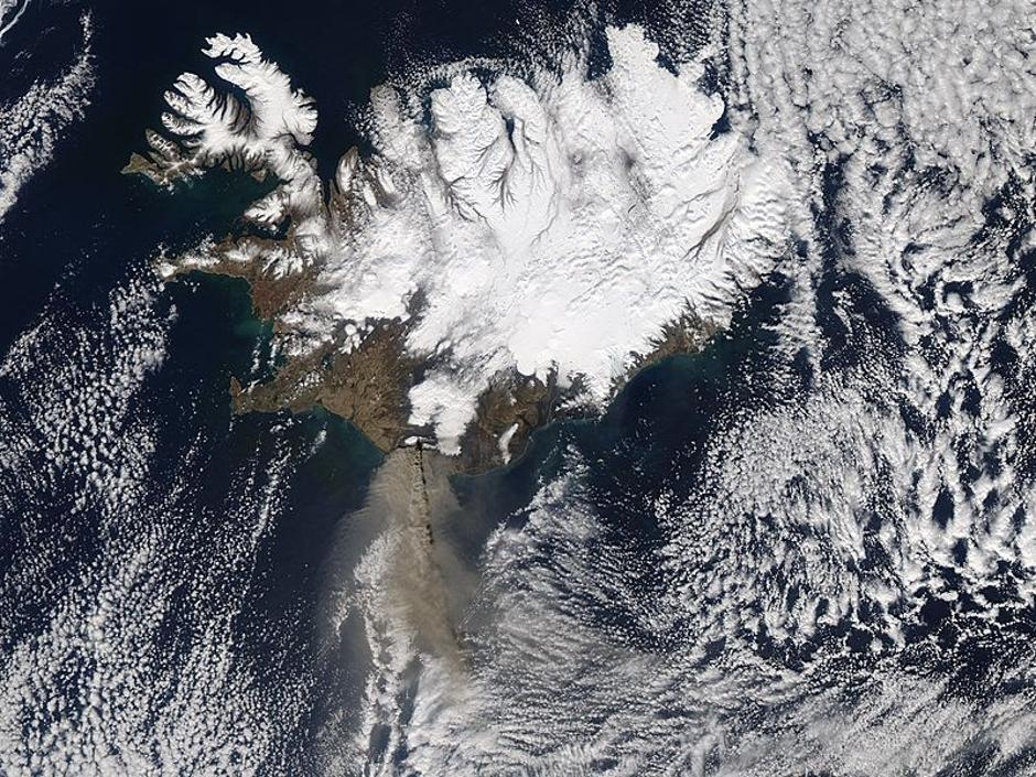 Satellite image of ash cloud over Iceland | Autor: NASA/DPA/PIXSELL
