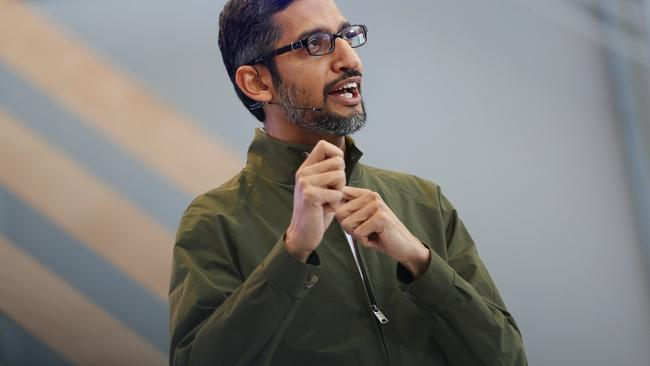Google CEO Sundar Pichai speaks on stage during the annual Google I/O developers conference in Mountain View, California