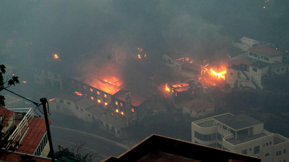 View of Ribeira de Joao Gomes during the wildfires at Funchal, Madeira island