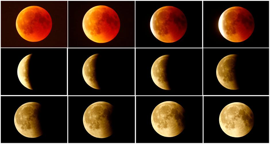 FILE PHOTO: A combination photo shows the lunar eclipse from a blood moon (top L)  back to full moon (bottom right) in the sky over Frankfurt | Autor: Kai Pfaffenbach/REUTERS/PIXSELL/REUTERS/PIXSELL