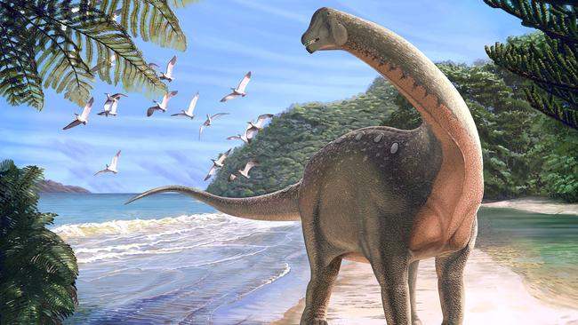 Artist's life reconstruction of the titanosaurian dinosaur Mansourasaurus shahinae on a coastline in what is now the Western Desert of Egypt approximately 80 million years ago is pictured in this handout image