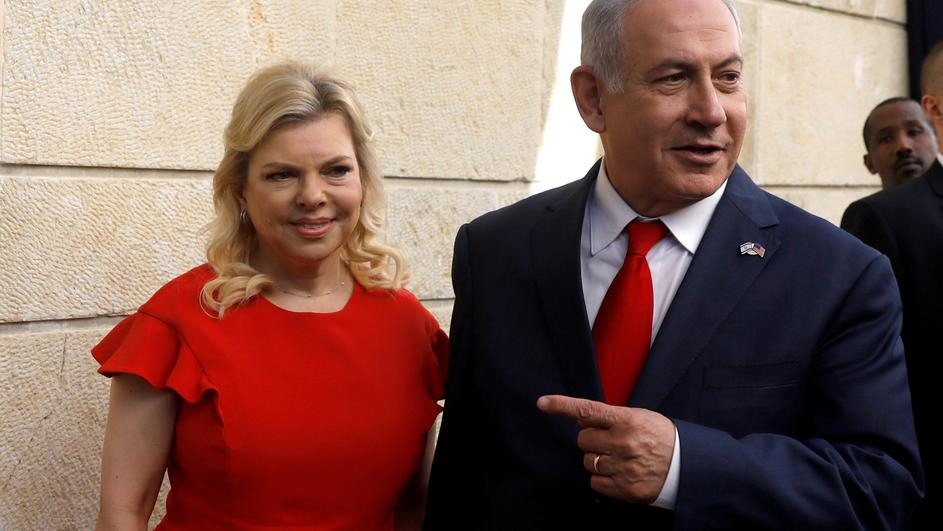 Israeli Prime Minister Benjamin Netanyahu and his wife Sara Netanyahu stand next to the dedication plaque of the U.S. embassy in Jerusalem, after the dedication ceremony of the new U.S. embassy in Jerusalem