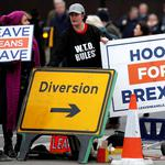 FILE PHOTO: Pro-Brexit protesters demonstrate outside the Houses of Parliament in London