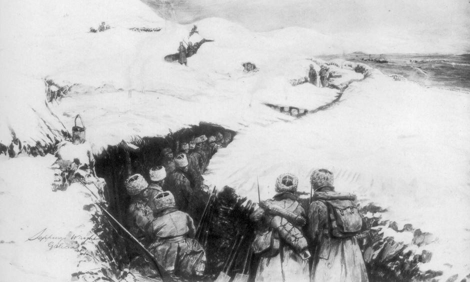 Russian trenches in the mountains of Galicia, World War I, 1915, (1929). Artist: Stuff | Autor: Profimedia