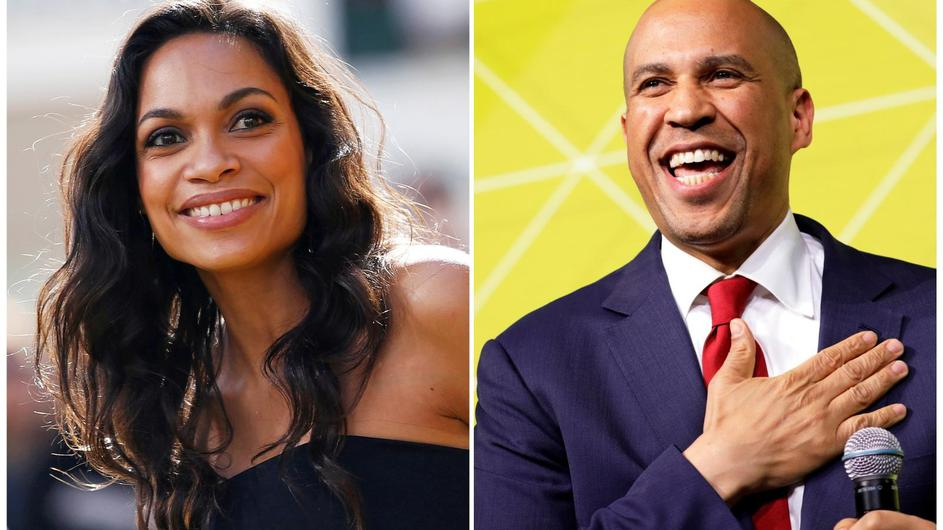 Actor Rosario Dawson and Democratic 2020 U.S. presidential candidate and U.S. Senator Cory Booker (D-NJ) are pictured in combination photograph