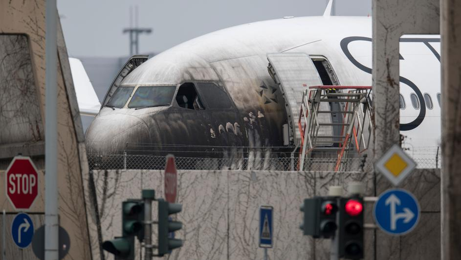 Airplane damaged by fire