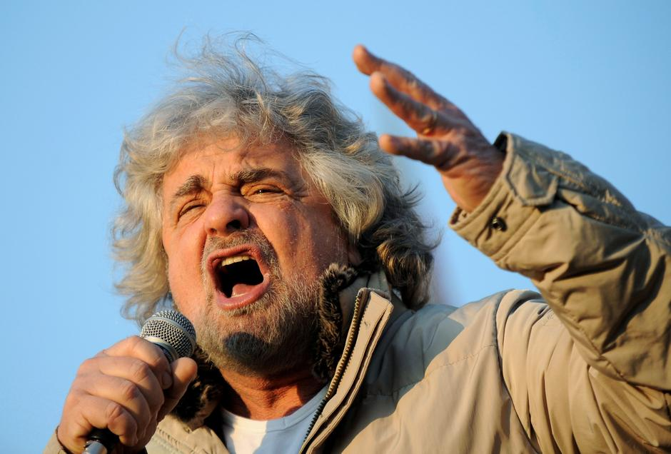 Five Star Movement leader and comedian Beppe Grillo gestures during a rally in Turin | Autor: Giorgio Perottino/REUTERS/PIXSELL/REUTERS/PIXSELL