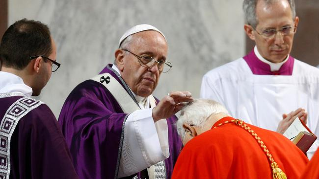 Pope Francis leads the Ash Wednesday mass in Rome