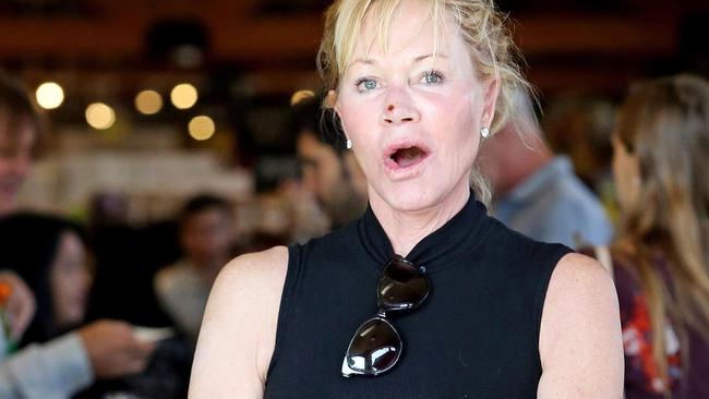 *EXCLUSIVE* Makeup free Melanie Griffith steps out with a scab on her face