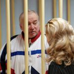 Sergei Skripal, a former colonel of Russia's GRU military intelligence service, looks on inside the defendants' cage as he attends a hearing at the Moscow military district court
