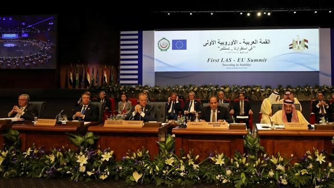 Egyptian President Abdel Fattah al-Sisi speaks during Arab league and EU summit, in Sharm el-Sheikh