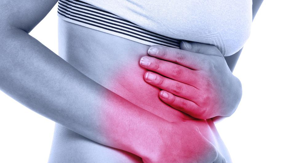 Stomach abdomen pain - woman having abdominal pain