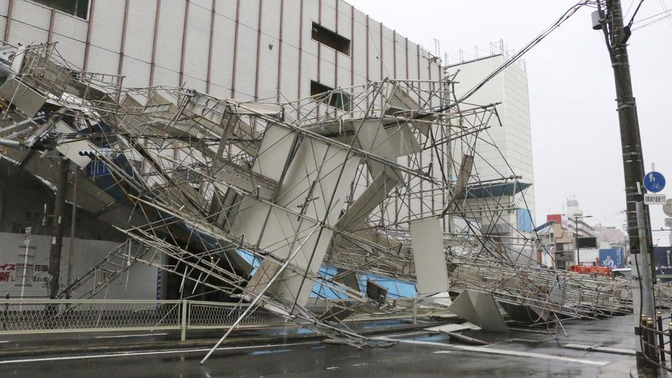 A building damaged by Typhoon Jebi is seen in Osaka