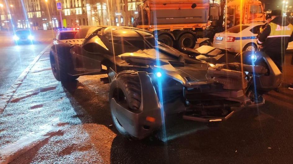 "A vehicle resembling the Batmobile from the film ""Batman v Superman: Dawn of Justice"" stopped by traffic police in Moscow, is seen in this handout photo"