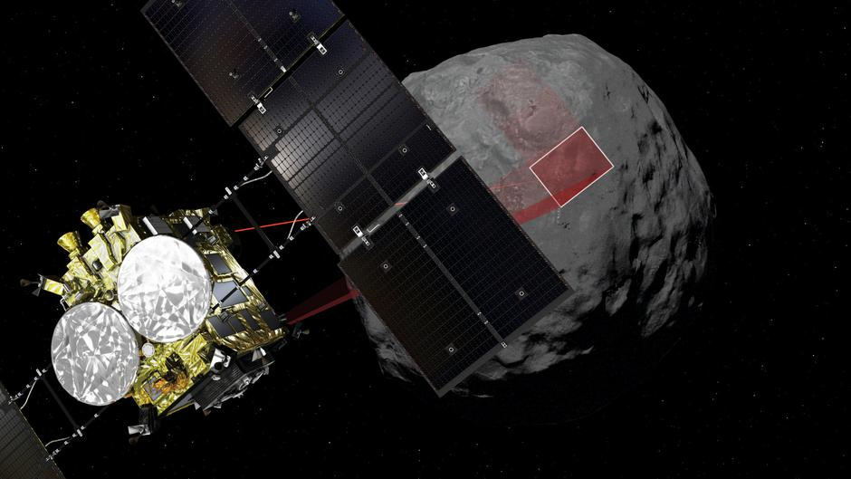 A computer graphic handout image shows Japan Aerospace Exploration Agency's Hayabusa 2 probe arrives to asteroid Ryugu in outer space. | Autor: HANDOUT