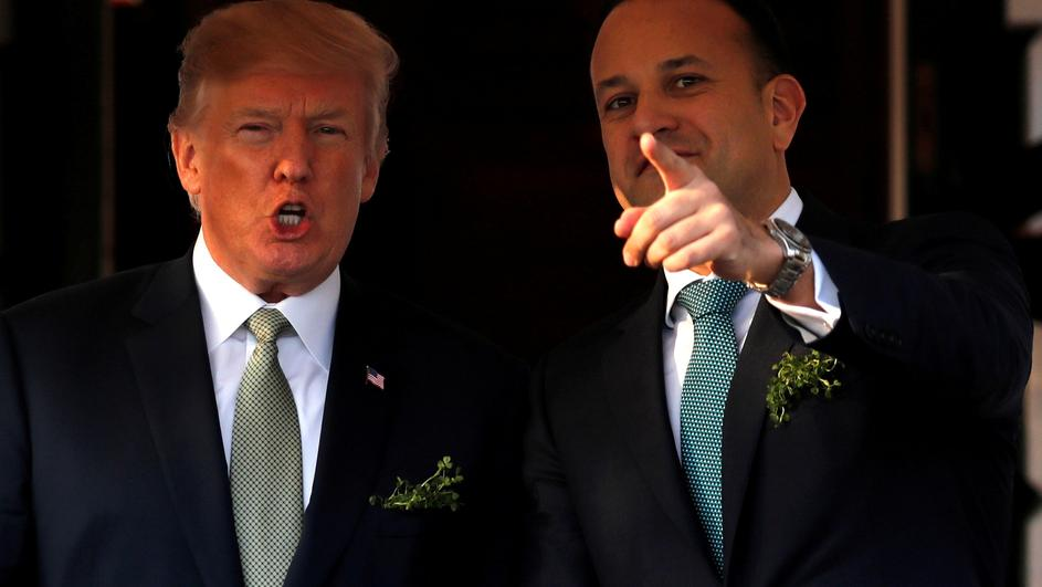 FILE PHOTO: U.S. President Donald Trump welcomes Ireland's Prime Minister, Taoiseach Leo Varadkar for a St. Patrick's Day reception at the White House in Washington