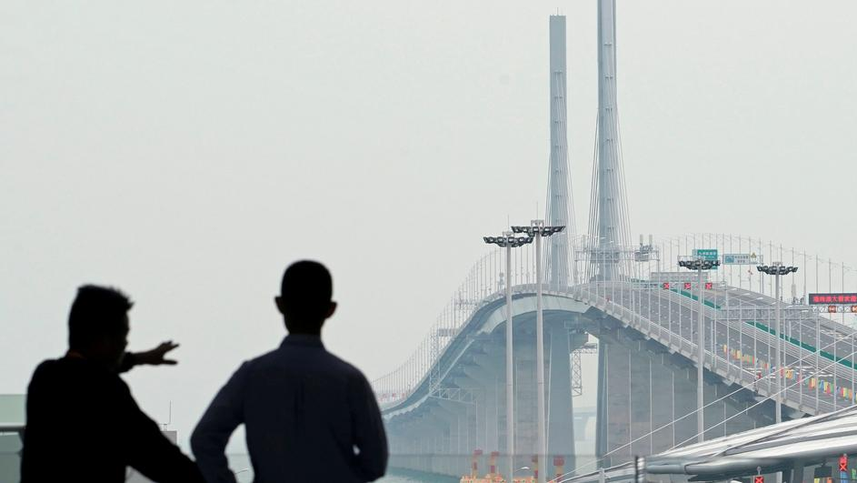 A general view of the Hong Kong-Zhuhai-Macau bridge after its opening ceremony in Zhuhai
