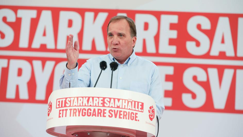 Sweden's PM and leader of Social Democrats Lofven speaks during election campaign meeting in Botkyrka, near Stockholm