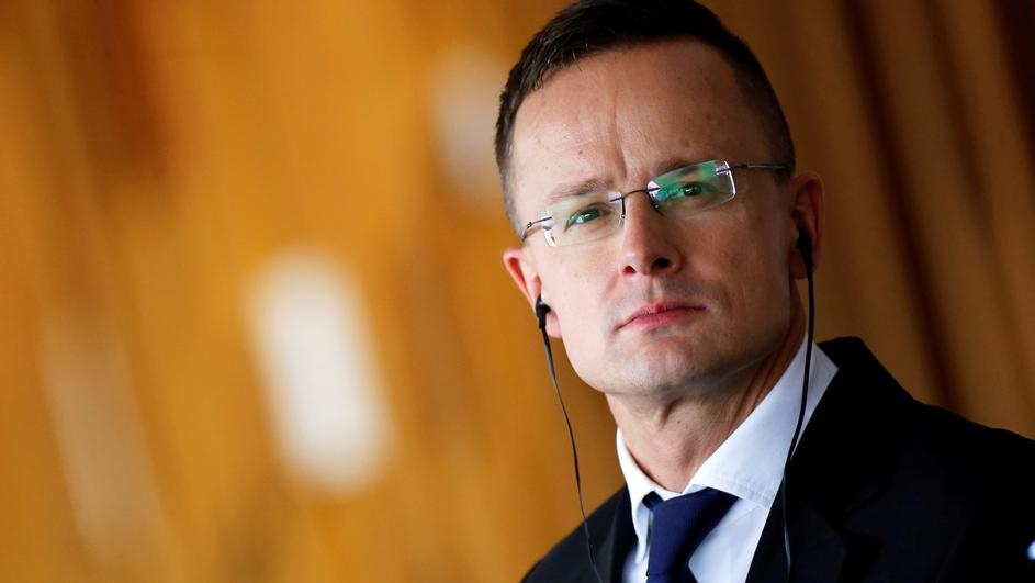 FILE PHOTO: Hungarian Foreign Minister Peter Szijjarto attends a news conference at the Itamaraty Palace in Brasilia