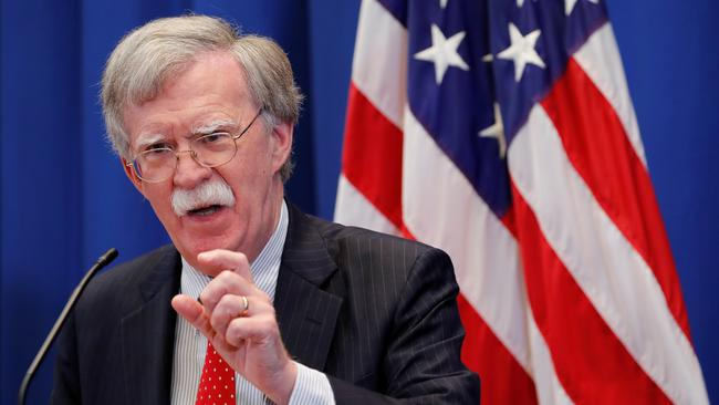 U.S. National Security Advisor Bolton speaks during a news conference in Geneva