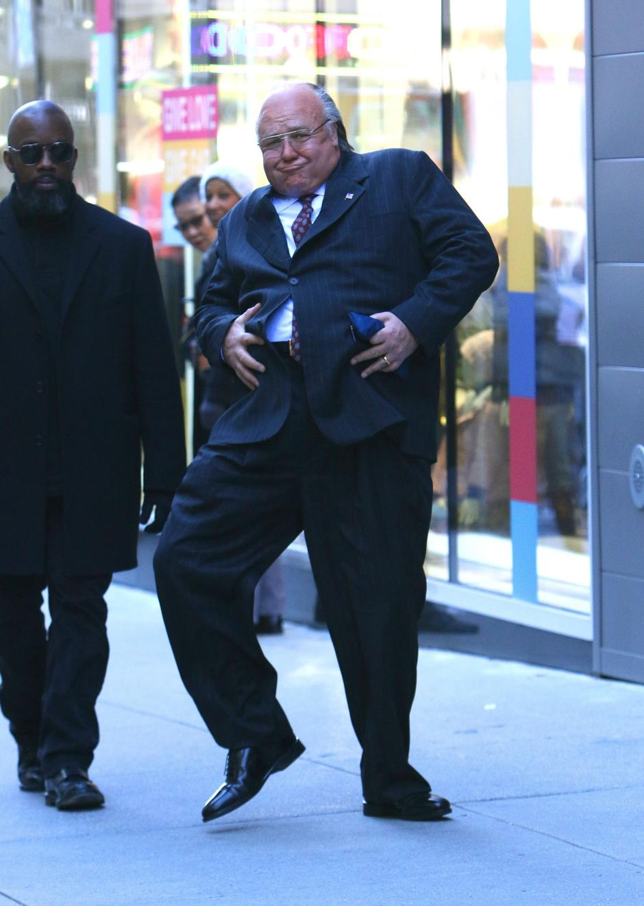 "Russell Crowe gets playful with his prosthetic belly while filming ""The Loudest Voice"" in NYC 