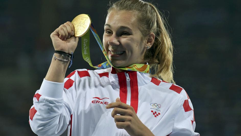 Athletics - Women's Javelin Throw Victory Ceremony