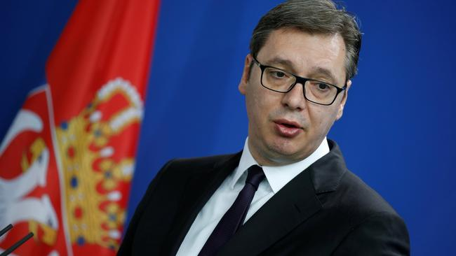 Serbia's President Vucic attends news conference in Berlin