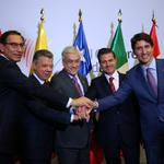 Peru's President Martin Vizcarra, Colombia's President Juan Manuel Santos, Chile's President Sebastian Pinera,  Mexico's President Enrique Pena Nieto and Canada's Prime Minister Justin Trudeau meet during the VIII Summit of the Americas in Lima