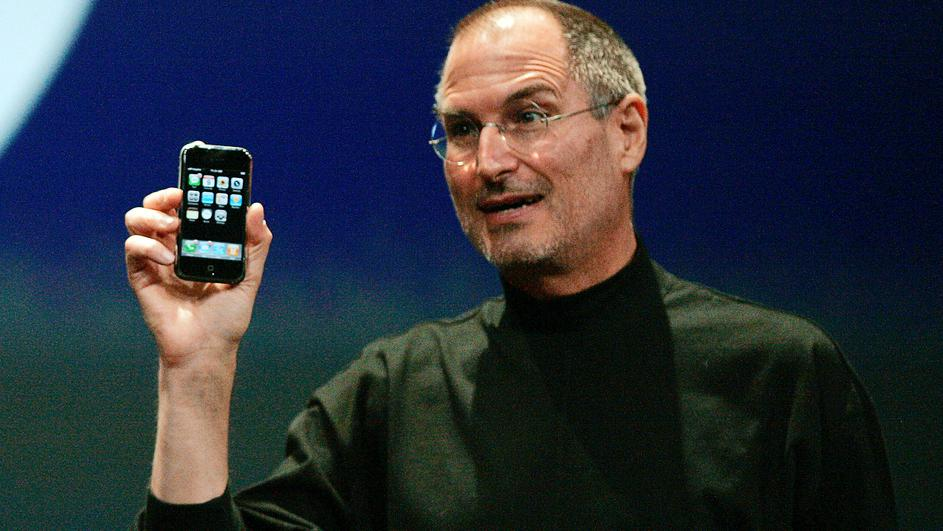 FILE PHOTO --  Apple Chief Executive Officer Steve Jobs holds new iPhone in San Francisco