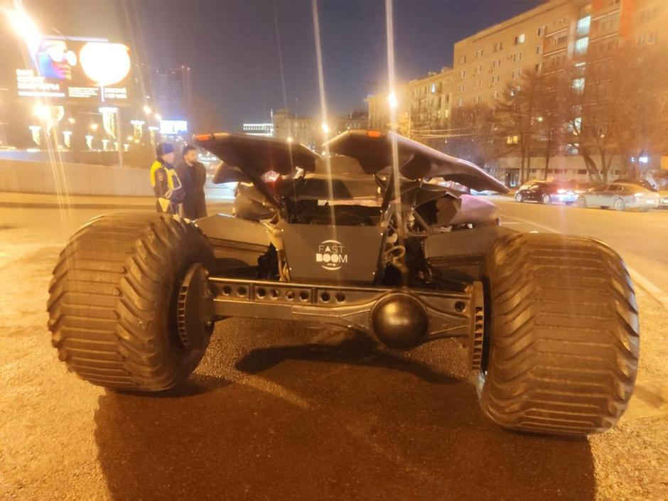 "A vehicle resembling the Batmobile from the film ""Batman v Superman: Dawn of Justice"" stopped by traffic police in Moscow, is seen in this handout photo 