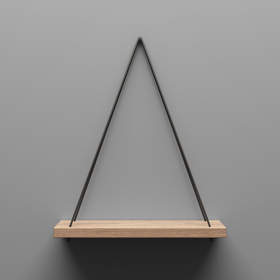 empty wooden shelf hanging on rope with light from the top. 3d illustration | Autor: Dreamstime