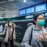 Arrival in Milan Malpensa of the last two planes from China people in customs mask blocked to prevent the Corona Virus