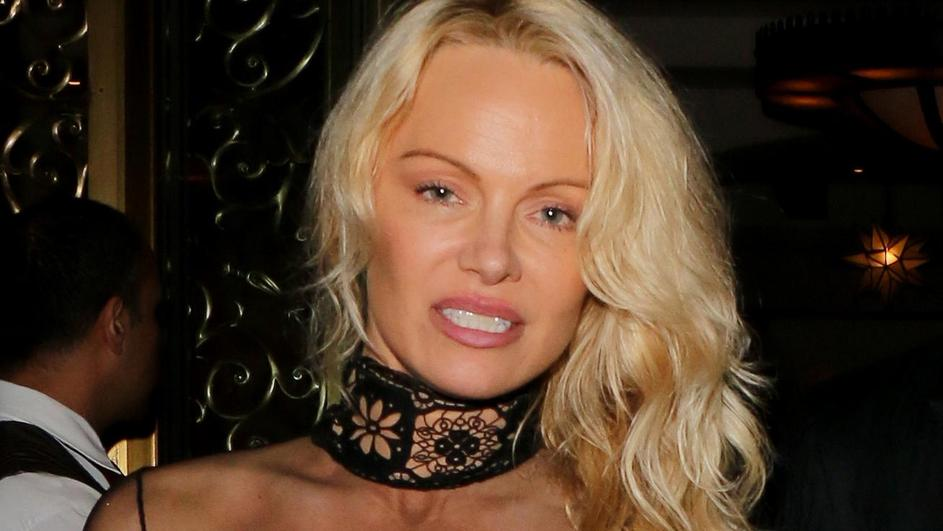 Double Dyed! Pamela Anderson wore her hair in her customary blonde and son Brandon Lee showed off his newly dyed gray locks as they dressed up for Sean Penn's Haiti Benefit event at the Montage Hotel in Beverly Hills