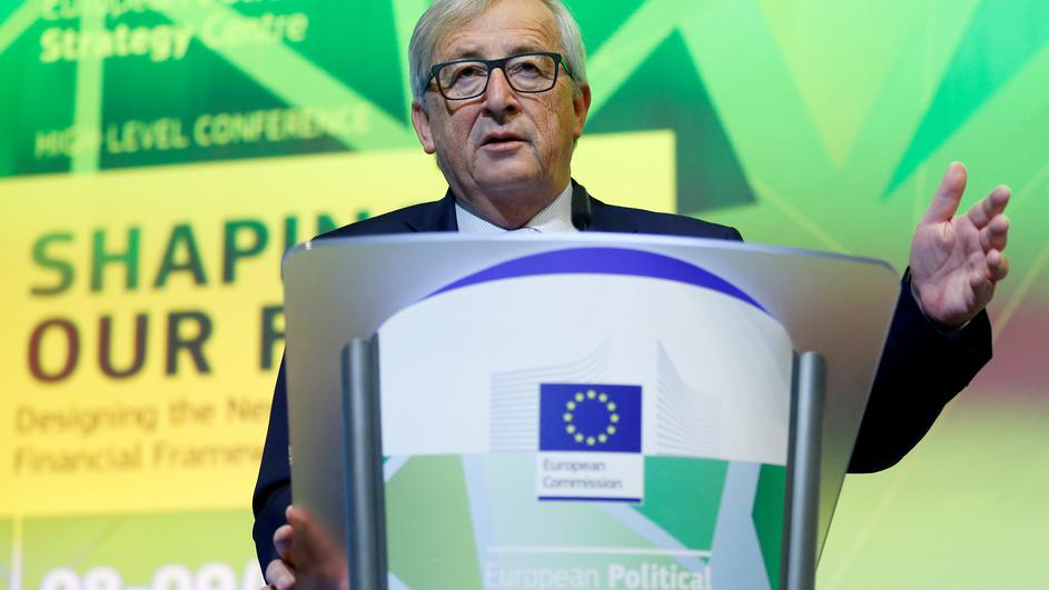 EU Commission President Juncker delivers a speech at a conference on the EU's next long-term budget after Brexit in Brussels