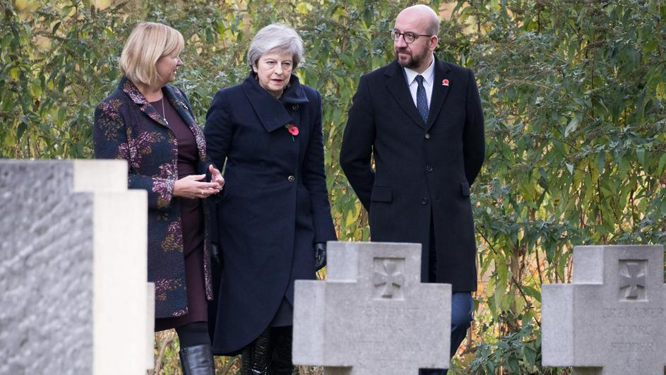British PM May and Belgian counterpart Michel attend a wreath-laying ceremony marking the 100th anniversary of the end of the First World War, at the Saint Symphorien Military Cemetery in Mons