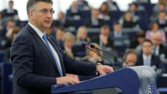 Croatia's Prime Minister Plenkovic delivers a speech during a debate on the Future of Europe at the European Parliament in Strasbourg
