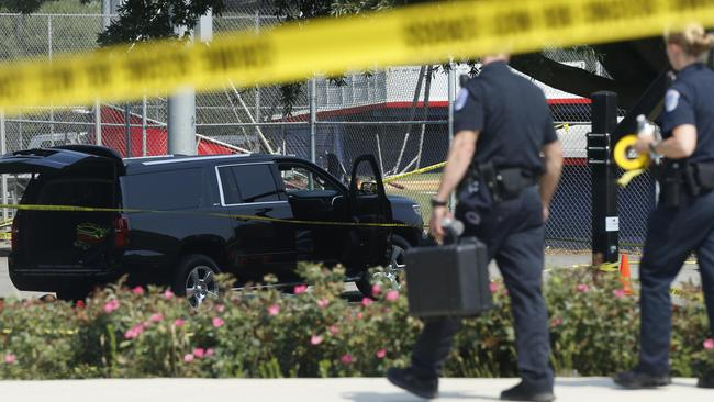 Police investigate shooting scene after a gunman opened fire on Republican members of Congress during a baseball practice near Washington in Alexandria, Virginia