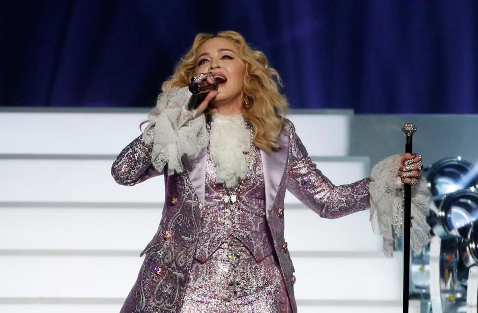 "FILE PHOTO: Madonna performs ""Nothing Compares 2 U"" during her tribute to Prince at the 2016 Billboard Awards in Las Vegas 