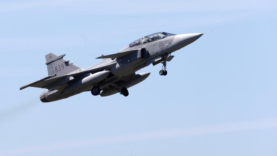 FILE PHOTO: Sweden's Air Force Saab JAS 39 Gripen fighter takes off during the AFX 18 exercise in Amari military air base
