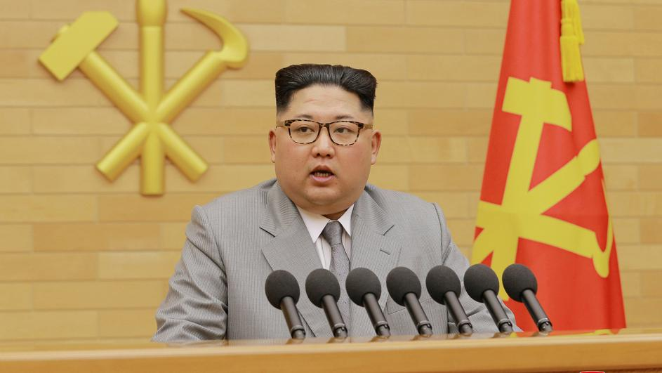 KCNA picture of North Korea's leader Kim Jong Un speaking during a New Year's Day speech