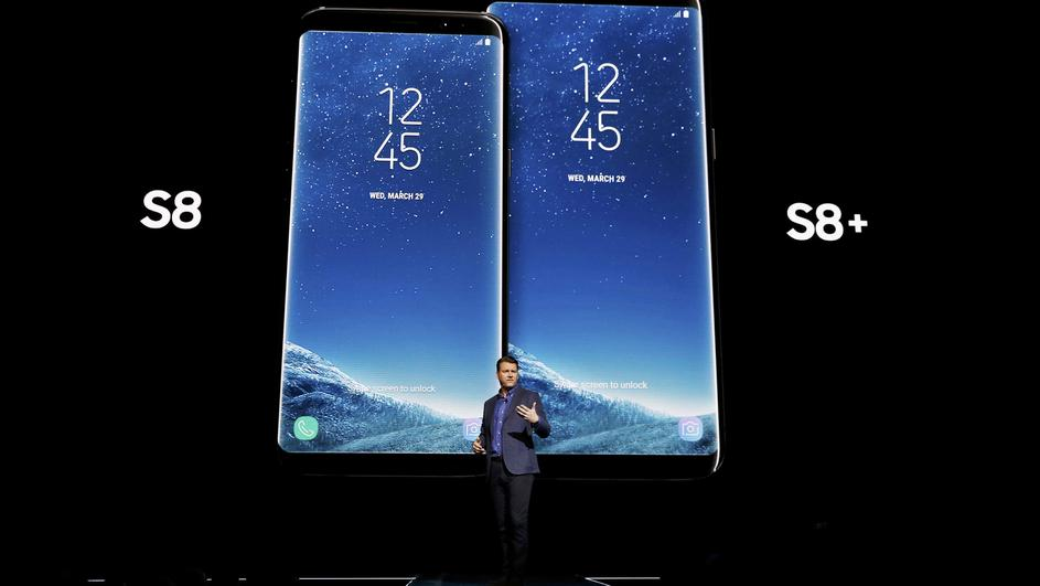 Justin Denison, Samsung senior vice president of Product Strategy, introduces the Galaxy S8 and S8+ smartphones during the Samsung Unpacked event in New York City