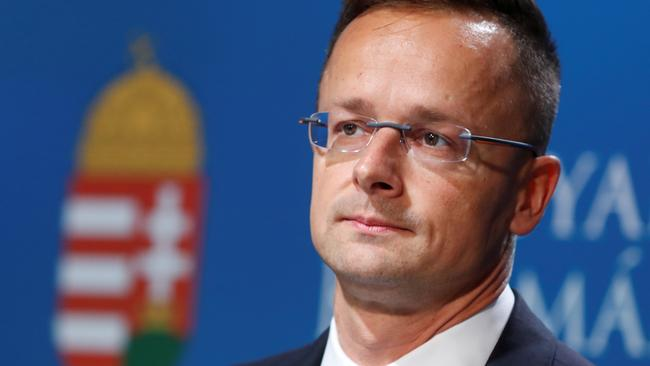 Hungarian Foreign Minister Peter Szijjarto holds a news conference in Budapest